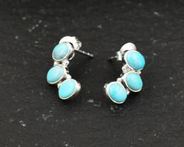 Stunning Genuine Turquoise Ear / Studs Earrings In Silver
