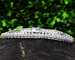 Stunning Genuine Cubic Zircona Bracelet In Silver