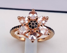 Natural Morganite with Black CZ Ring Rose Gold Plated.