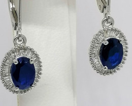 Blue Spinel and Diamond Earrings 2.00 TCW