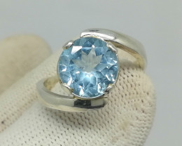 Natural Blue Topaz 22.40 Carats 925 Silver Ring N13