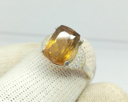 Natural Champagne Topaz 19.00 Carats 925 Silver Ring N14