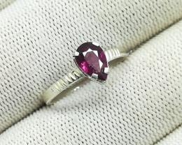 Natural Purple Rhodolite Garnet 6.75 Carats Silver Ring N16