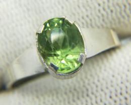 Natural Green Rutile Peridot 7.95 Carats Silver Ring N17