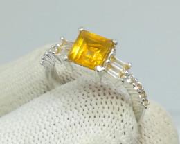 Natural Yellow Citrine 16.40 Carats 925 Silver Ring