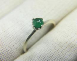 Natural Green Emerald Cabochon 7.45 Carats 925 Silver Ring