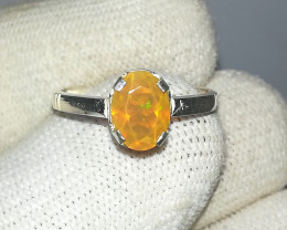 Natural Fire Opal 6.80 Carats 925 Silver Ring