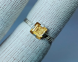 Natural Yellow Citrine Silver Ring