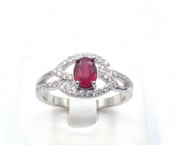 NATURAL RED RUBY 925% SILVER RING D 27