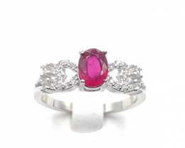 NATURAL RED RUBY 925% SILVER RING D 31