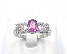 NATURAL PINK SPINAL 925% SILVER RING D 33