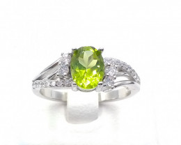 NATURAL PERIDOT 925% SILVER RING D 35