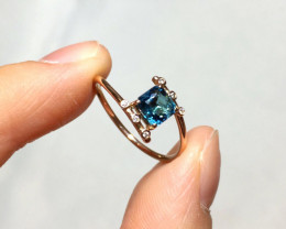 Indicolite Tourmaline Solid 14K Yellow Gold Ring