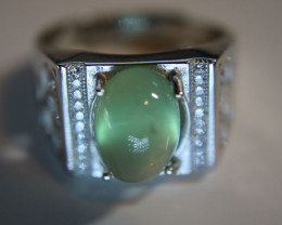 Mali Prehnite 5.66ct White Gold Finish Solid 925 Sterling Silver Ring
