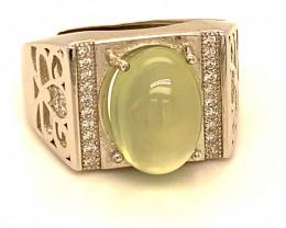 Mali Prehnite 5.66ct White Gold Finish Solid 925 Sterling Silver Ring