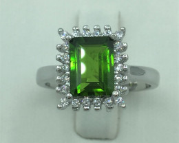 Natural 1.60 Cts Chrome Diopside Ring With A 925 Starling Silver.