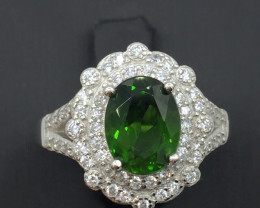 Natural 1.90 Cts Chrome Diopside Ring With A 925 Starling Silver.