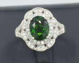 Natural 1.90Cts Chrome Diopside Ring With A 925 Starling Silver.