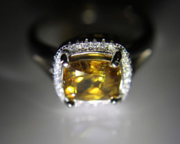 Sphene 2.30ct White Gold Finish Solid 925 Sterling Silver Ring