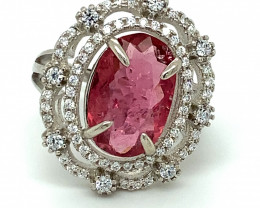 Rubellite or Red Tourmaline 3.35ct White Gold Finish Solid 925 Sterling Sil