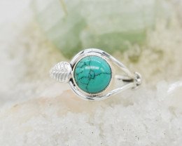 TURQUOISE RING 925 STERLING SILVER NATURAL GEMSTONE JR490