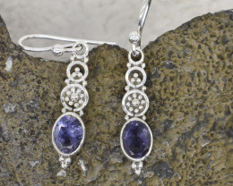 IOLITE EARRINGS 925 STERLING SILVER NATURAL GEMSTONE JE386