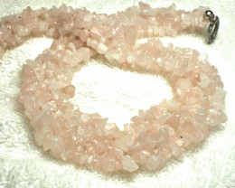 611.5 Tcw. African Rose Quartz Chip Necklace - Gorgeous