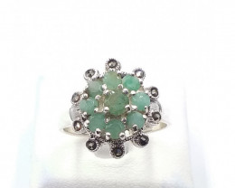 NATURAL EMERALD MIXED 925% SILVER RING E 2