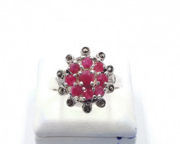 NATURAL RUBY  MIXED 925% SILVER RING E 3