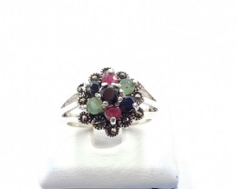 NATURAL RUBY SAPPHIRE EMERALD MIXED 925% SILVER RING E 5