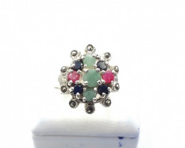 NATURAL RUBY SAPPHIRE EMERALD MIXED 925% SILVER RING E 7