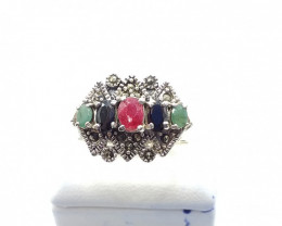 NATURAL RUBY SAPPHIRE EMERALD MIXED 925% SILVER RING E 9