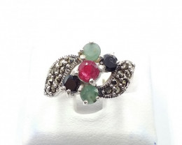 NATURAL RUBY SAPPHIRE EMERALD MIXED 925% SILVER RING E 10