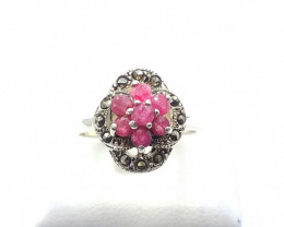 NATURAL RUBY SAPPHIRE EMERALD MIXED 925% SILVER RING E 12