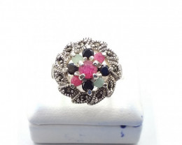 NATURAL RUBY SAPPHIRE EMERALD MIXED 925% SILVER RING E 13