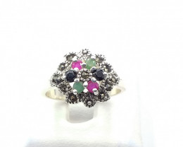 NATURAL RUBY SAPPHIRE EMERALD MIXED 925% SILVER RING E 14