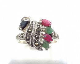 NATURAL RUBY SAPPHIRE EMERALD MIXED 925% SILVER RING E 16