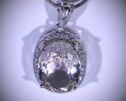 Kunzite 11.00ct White Gold Finish Solid 925 Sterling Silver Pendant, Kunzit