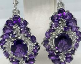 Lusaka Amethyst and Zircon Earrings 8.00 TCW
