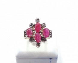 NATURAL RUBY 925% SILVER RING E 31