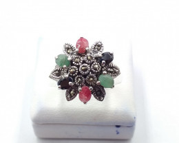NATURAL RUBY SAPPHIRE EMERALD MIXED 925% SILVER RING E 34