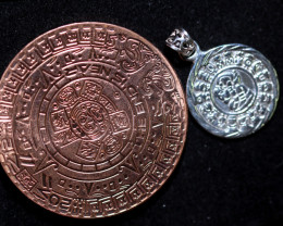 Sun God ,Aztec n Mayan Silver pendant n Calendar CP 340