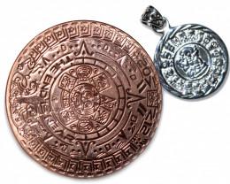 Sun God ,Aztec n Mayan Silver pendant n Calendar CP 341