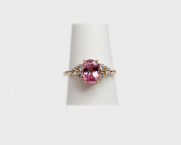 Pink Spinel & Diamond Ring