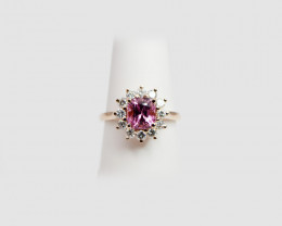 Pink Spinel & Diamond Ring, 14k Rose Gold