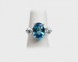 Blue & White Zircon  Ring, 14k White Gold