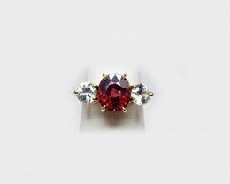 Red & White Zircon  Ring, 14K Yellow Gold