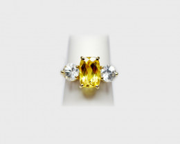 Heliodor & White Zircon Ring, 14k Yellow Gold