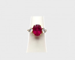 Rubellite Tourmaline & White Zircon Ring, 14k