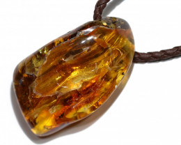 Baltic Amber Pendant  Leather Necklace, direct from Poland AM 1843